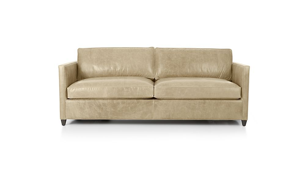 Dryden Leather Queen Sleeper Sofa With Air Mattress Mushroom Crate And Barrel