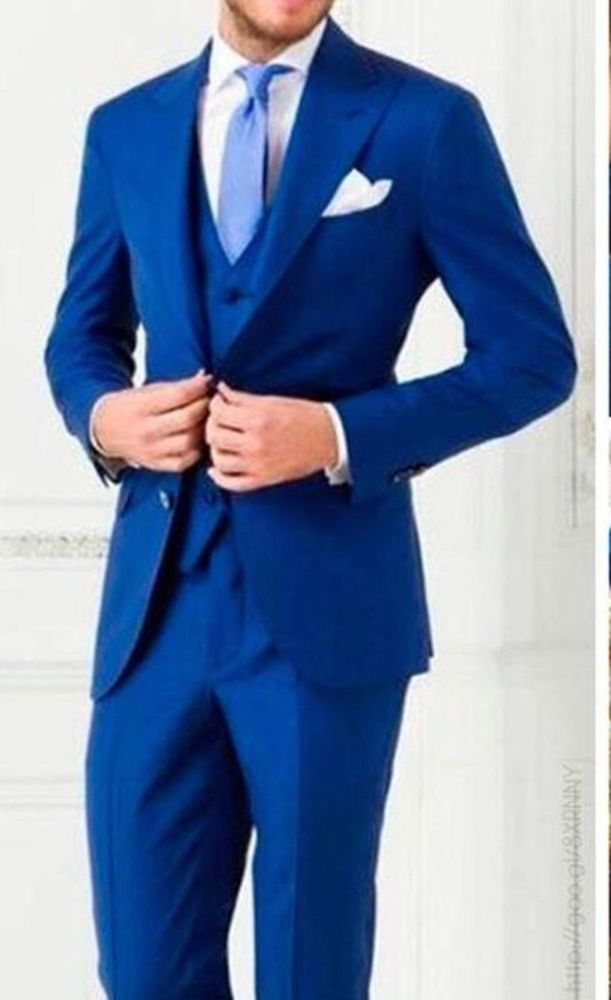 75e697d22be Royal Blue 4 Piece Mens Wedding Suits Bespoke Groom Best Man Groomsmen  Tuxedos  Handmade  OneButton