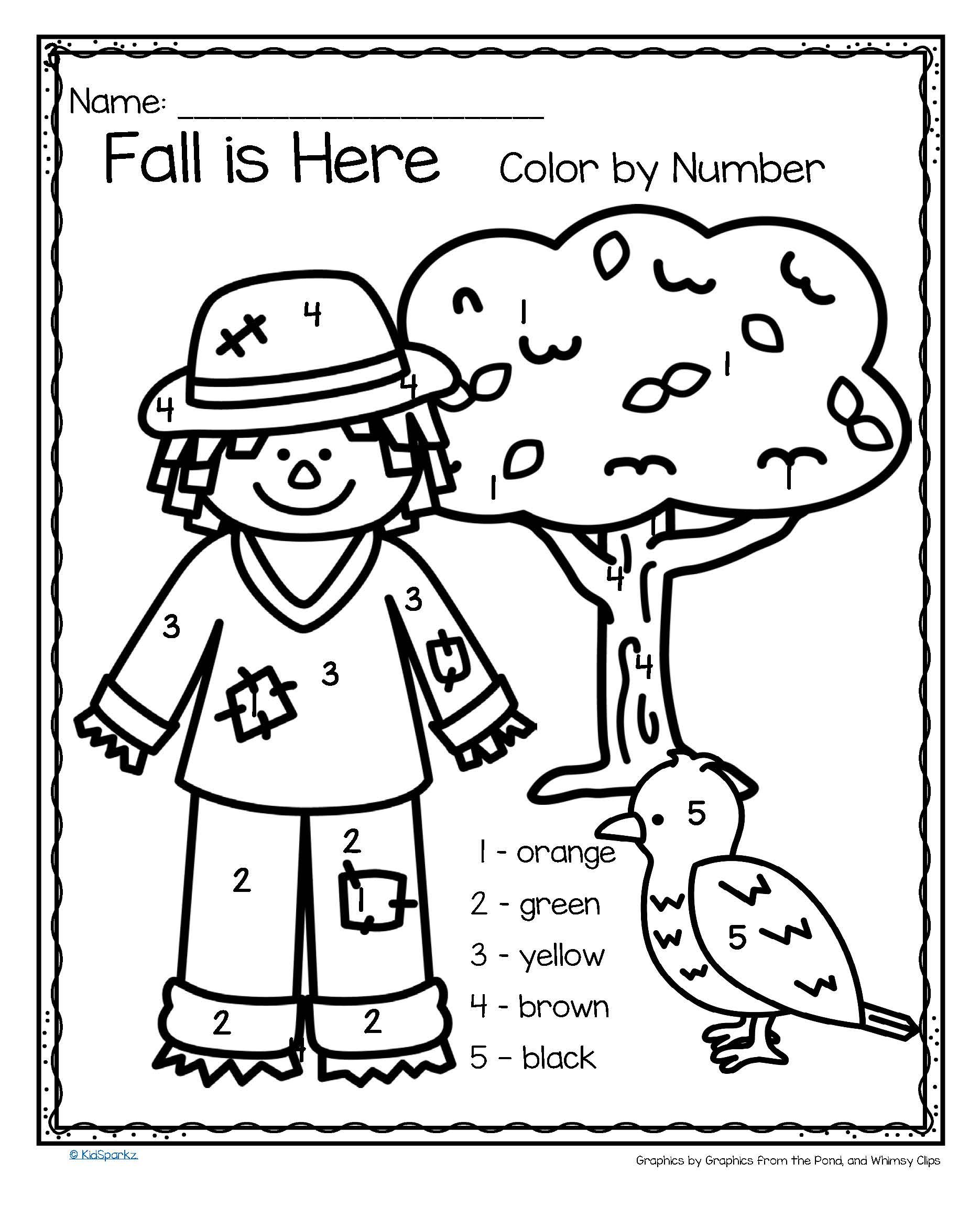 Fall Is Here Color By Number Printables 3 Pages Fall Preschool Activities Fall Kindergarten Fall Preschool