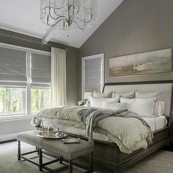 Taupe And Gray Bedroom With Mirrored Nightstands Taupe Bedroom