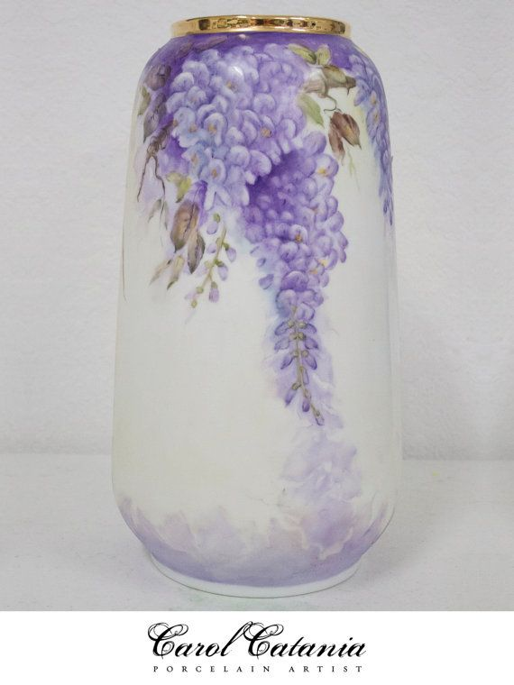 Hand Painted Porcelain Vase With Purple Wysteria Flowers