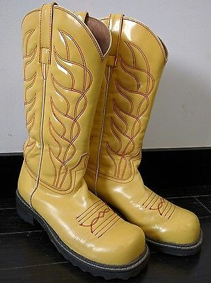 2ecac961fa3 Womens John Fluevog Yellow Stitched Cowboy Boots 8.5 Rockabilly ...