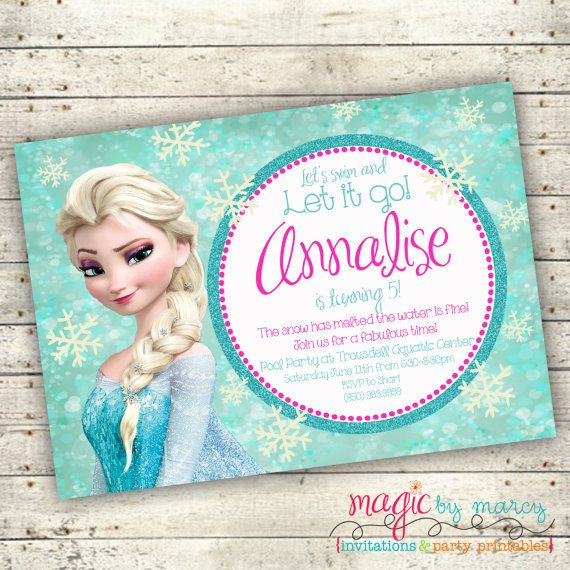 Frozen Pool Party Invites Customize The Wording To Suit Any