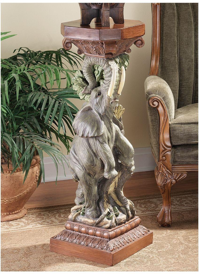 Xoticbrands 39 5 African Elephant Sculpture Statue Pedestal Column Stand Pedestals And Columns Olifanten