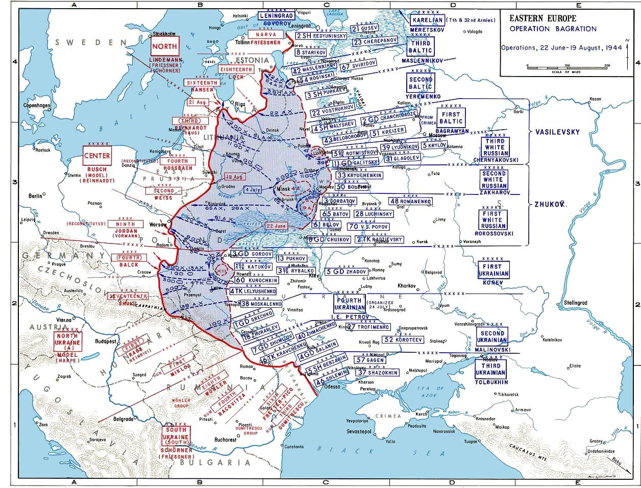A Map Of Operation Bagration The Soviet Summer Offensive - Europe map 1944