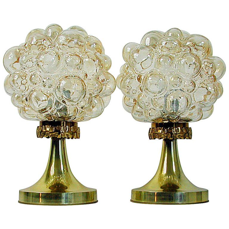 Pair of 1960s helena tynell for limburg amber glass bubble table pair of 1960s helena tynell for limburg amber glass bubble table lamps from a unique aloadofball Gallery