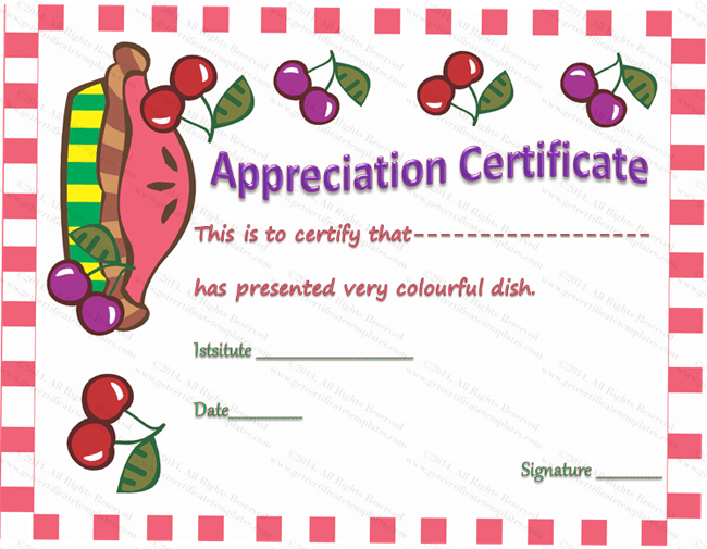 Colorful Dish Certificate of Appreciation Template – Cooking Certificate Template