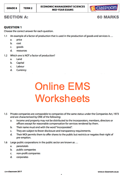 grade 8 online economic management science worksheets for more worksheets visit www e classroom. Black Bedroom Furniture Sets. Home Design Ideas