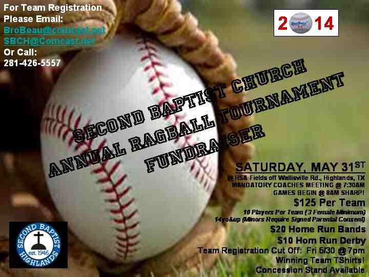 2014 Ragball Tournament Fundraiser Come Play Ball For A Great Cause Send Kids To Church Camp This Summer Highlander Tournaments Tennis Ball