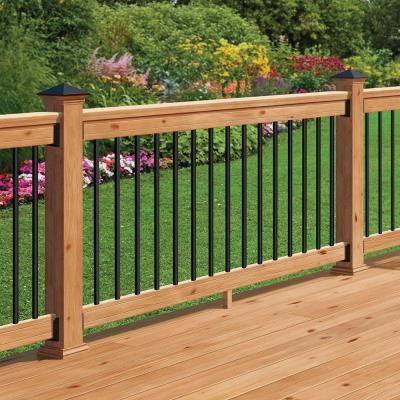 Western Red Cedar Railing Kit With Black Aluminum Balusters 208372   The Home  Depot