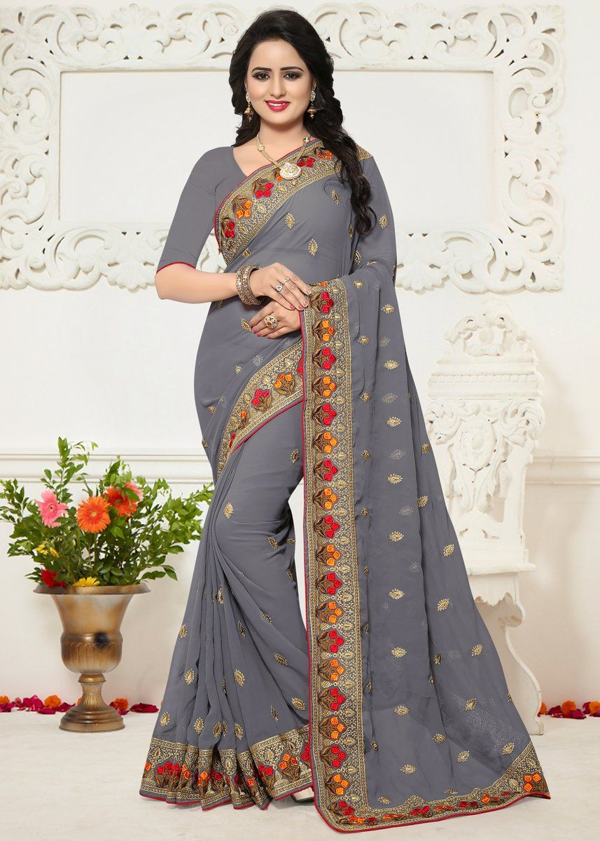 Gray Embroidered Georgette Saree with Unstitched Blouse in