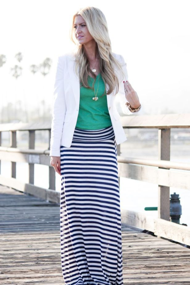 07d9b683140 Stripe Skirt Outfits Ideas For Working Women 12