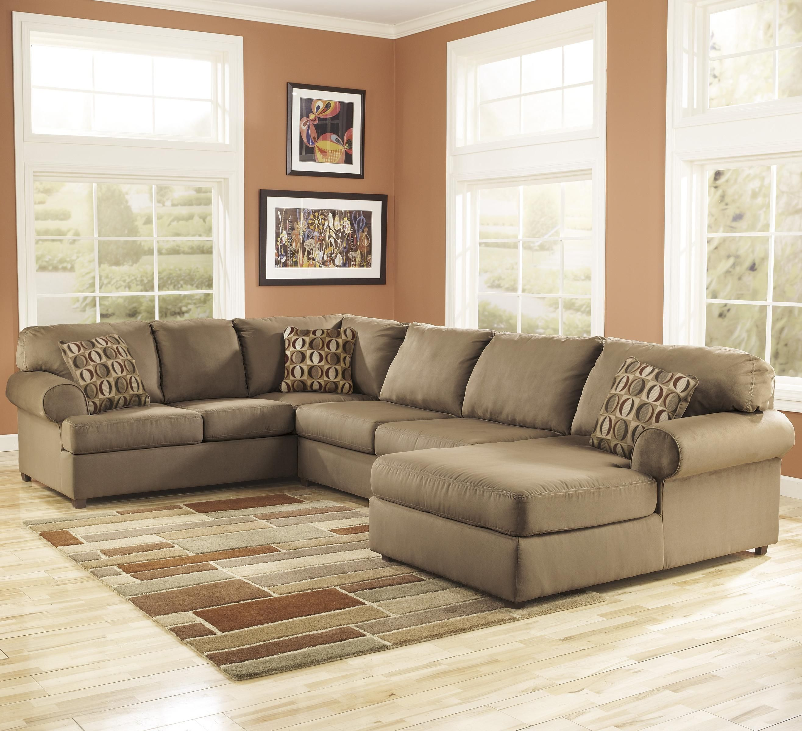 Cowan Mocha Roll Arm Right Facing Corner Chaise Sectional By Signature Design By Big Lots Furniture Ashley Furniture Living Room Sectional Sofas Living Room