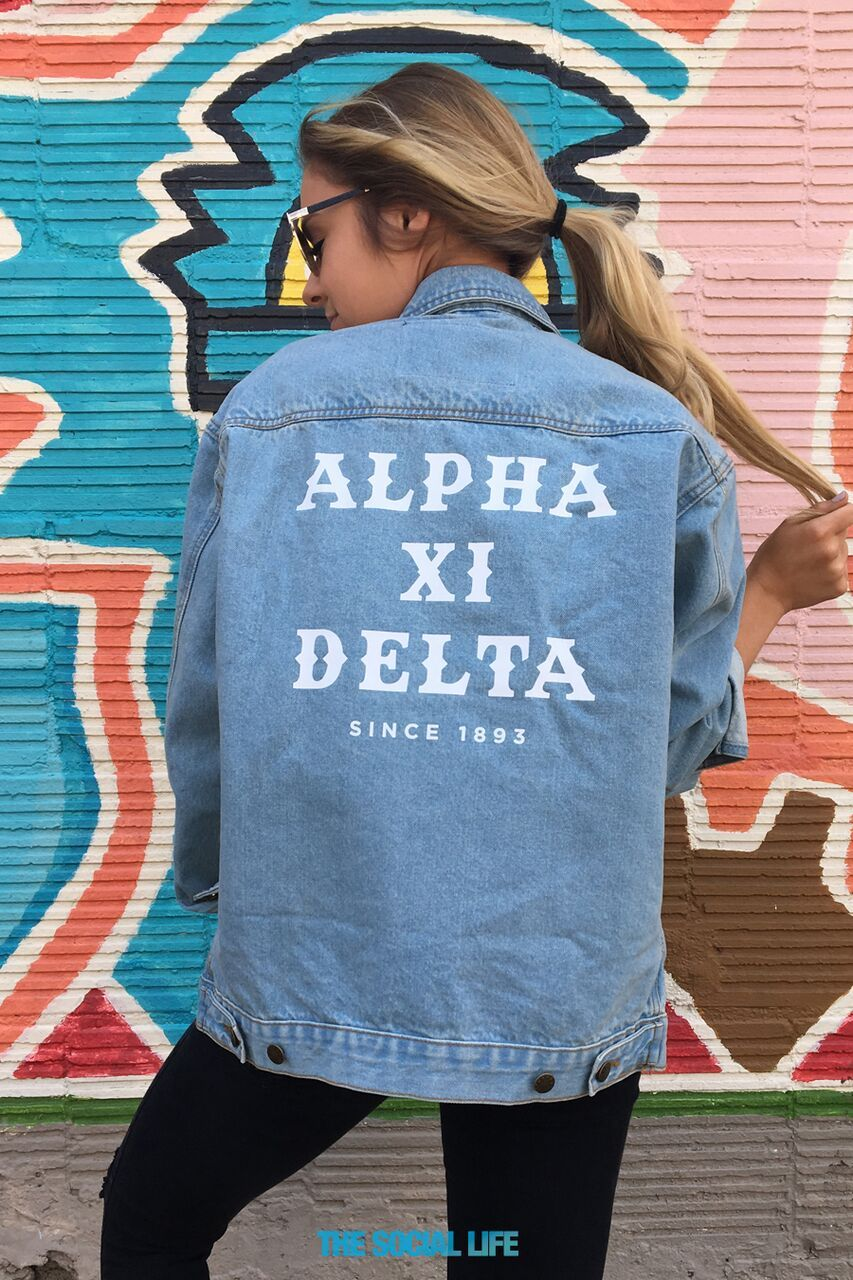 Alpha Xi Delta Classic Denim Jacket Alpha Xi Alpha Xi Delta Classic Denim Jacket [ 1280 x 853 Pixel ]