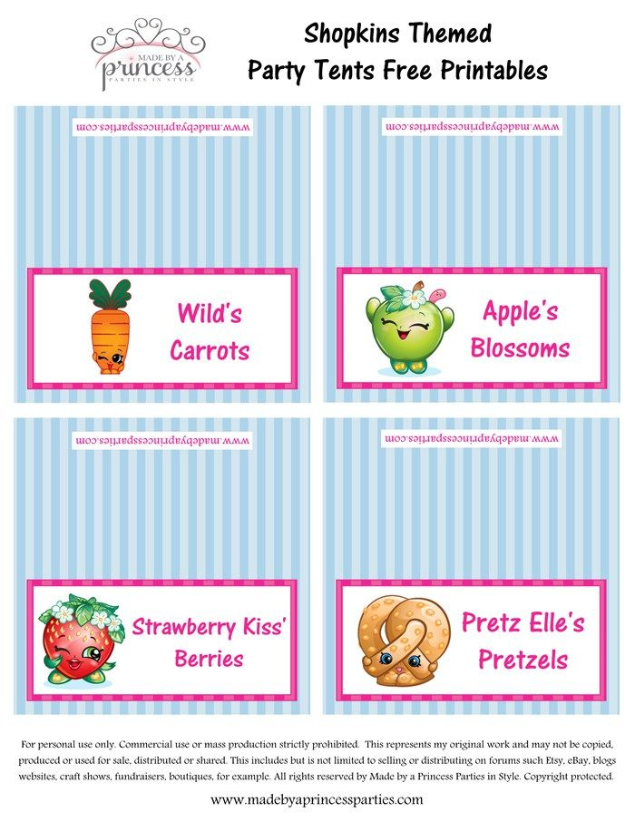 photograph about Free Printable Shopkins Food Labels titled Shopkins Motivated Food items Tents Absolutely free Printables Established 9 Generated by way of a
