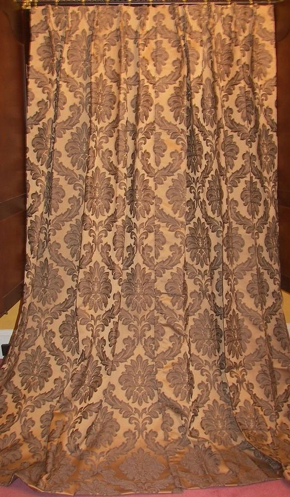 2nd Pr Vtg Victorian French Country Chic Damask Faux Silk Floral Drapes Curtains #FrenchCountryVictorianBaroque