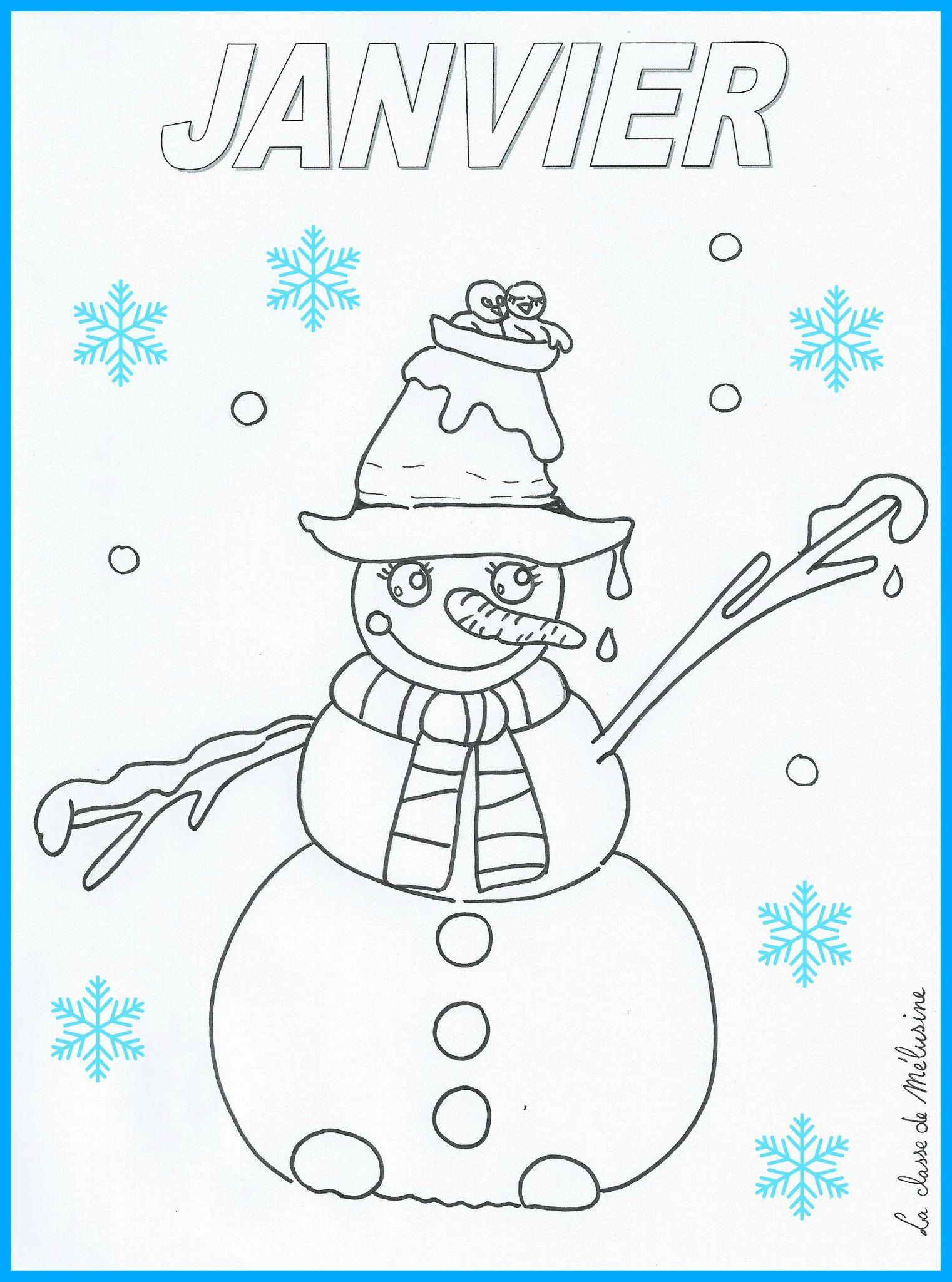 Coloriage Fevrier Melusine.Coloriage De Janvier 1 La Classe De Melusine Hiver Noel