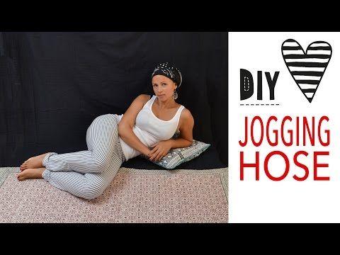 Jogginghose nähen ohne Schnittmuster / Einfache Hose aus Jersey ...