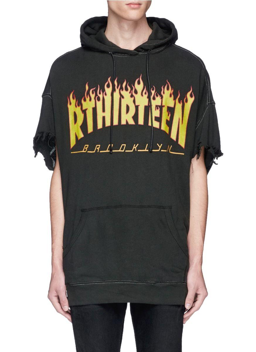 Print Flame R13 'rthirteen' Oversized Cutoff Sleeve Hoodie r13 faZxCwpq