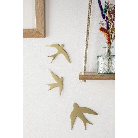 3 Oiseaux Metal Dore 15x14 15x10 15x8cm Zodio Magasin Deco Atelier Deco