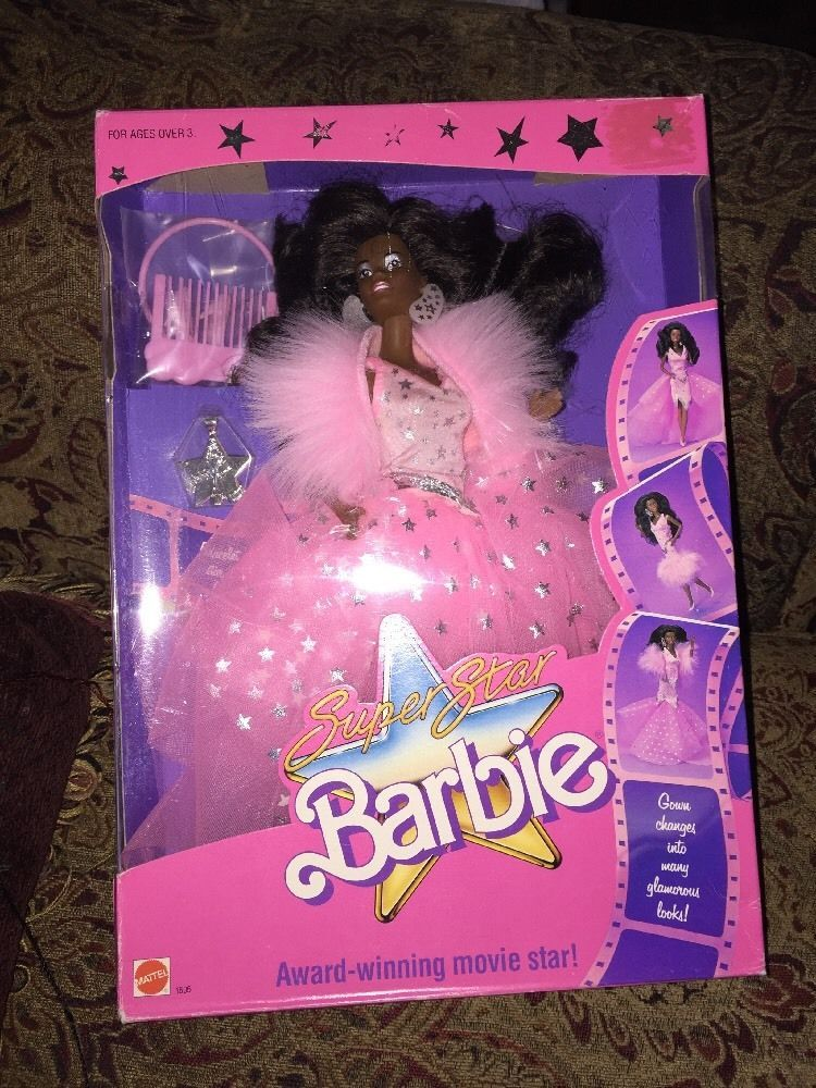 1988 Super Star SuperStar Black Barbie Movie Star 1605 AA African American Black - Star Earrings