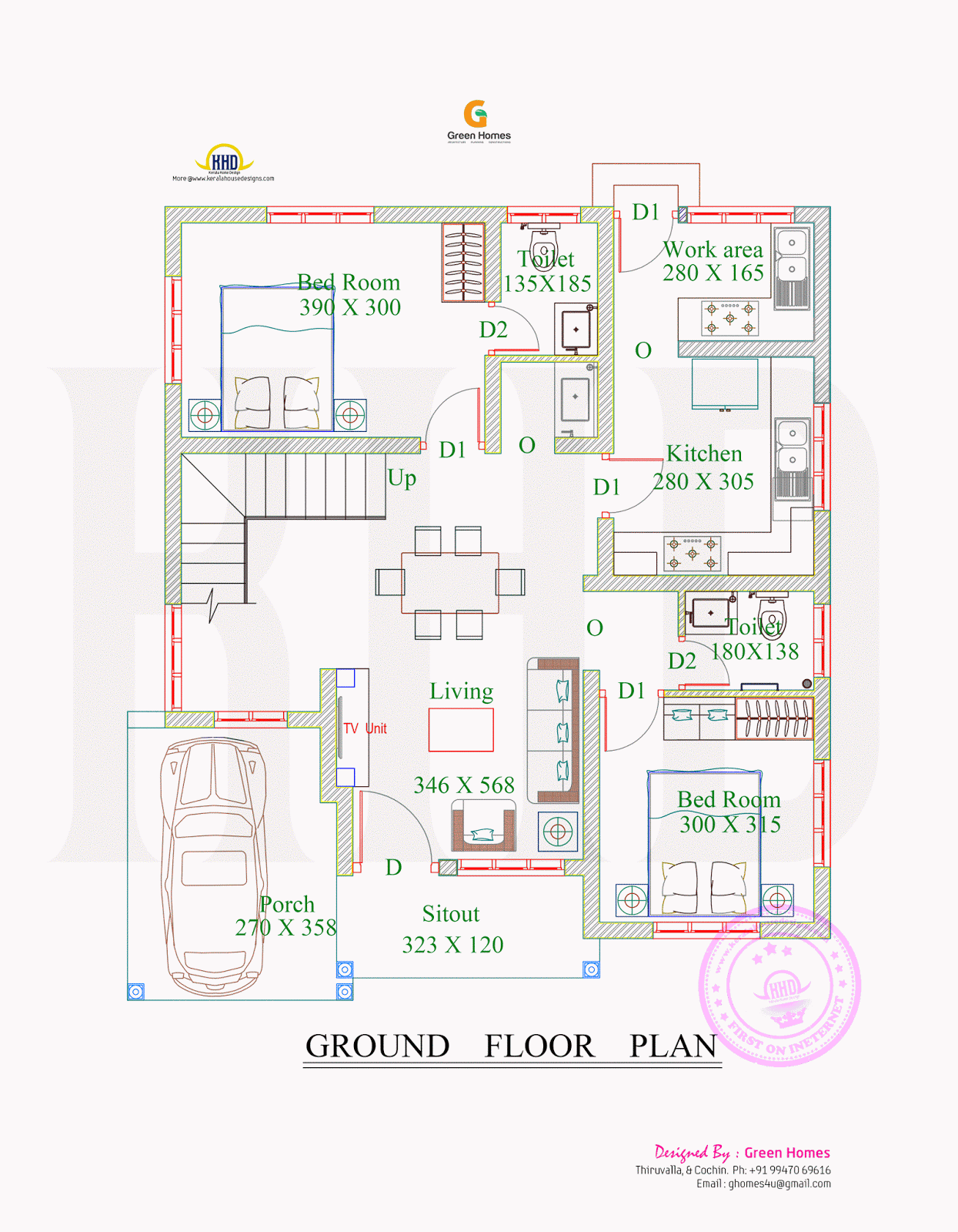 4bhk Floor Plan And Elevation In 5 Cent Floor Plan Design 2bhk House Plan New House Plans
