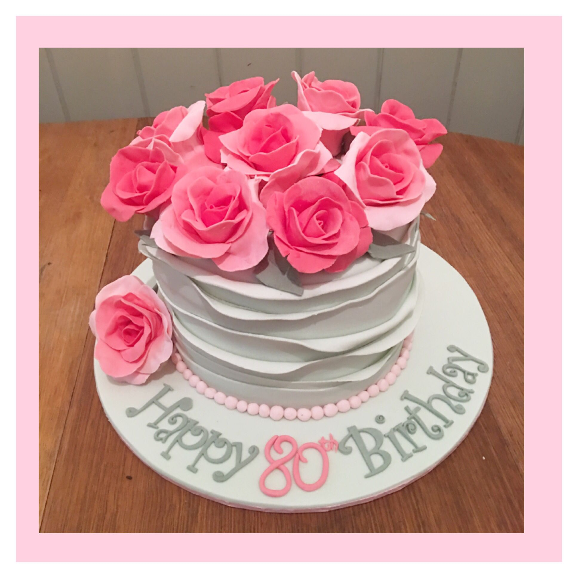 80 80th ladies lady birthday cake pink roses wrap wrapped