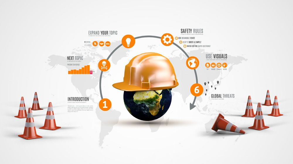 Safety world with helmet presentation template for prezi prezi creative prezi presentation template for a safety related presentation a globe with a classic orange safety helmet traffic cones and a world map pronofoot35fo Gallery