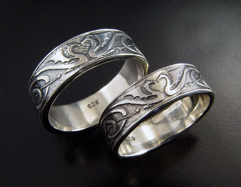 dragon wedding ring set silver celtic wedding bands unique dragon wedding rings his and hers wedding rings with hand etched dragons - Celtic Wedding Ring Sets
