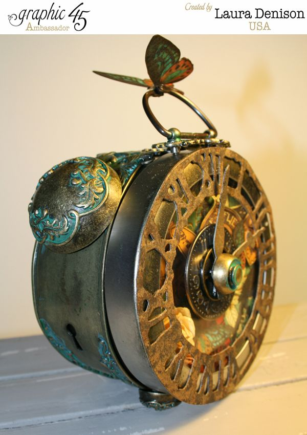 Steampunk Debutante altered clock by Laura using G45 Metal Staples  #graphic45