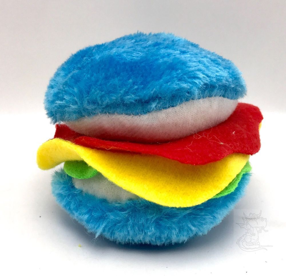 Plush Hamburger Shaped Dog Toy With Squeaker Blue New Pawsnclaws