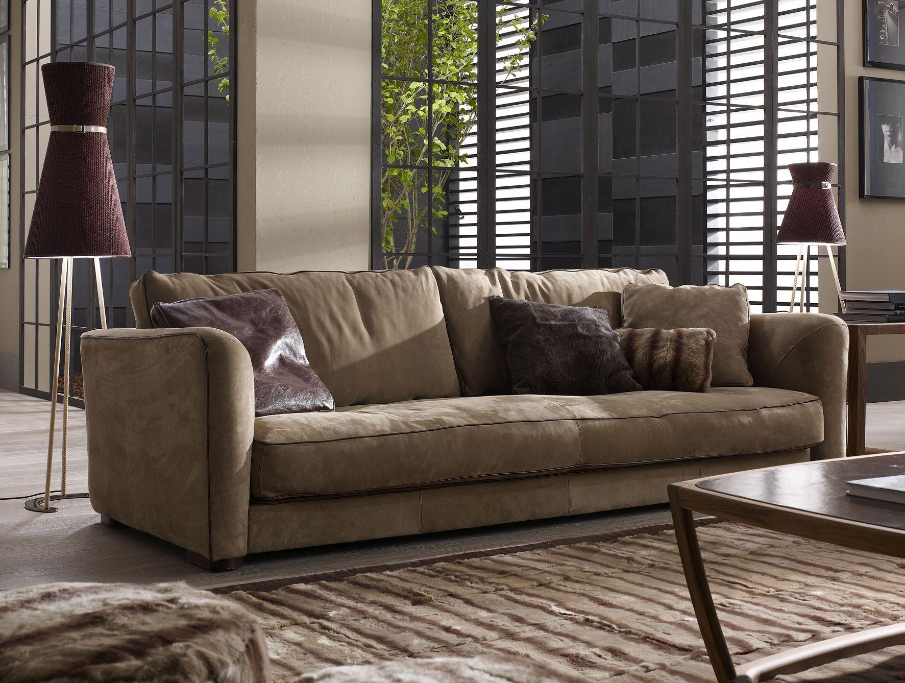 Nella Vetrina Ulivi Tommy Modern Italian Brown Leather Sofa Sofa Furniture Furniture Brown Leather Sofa