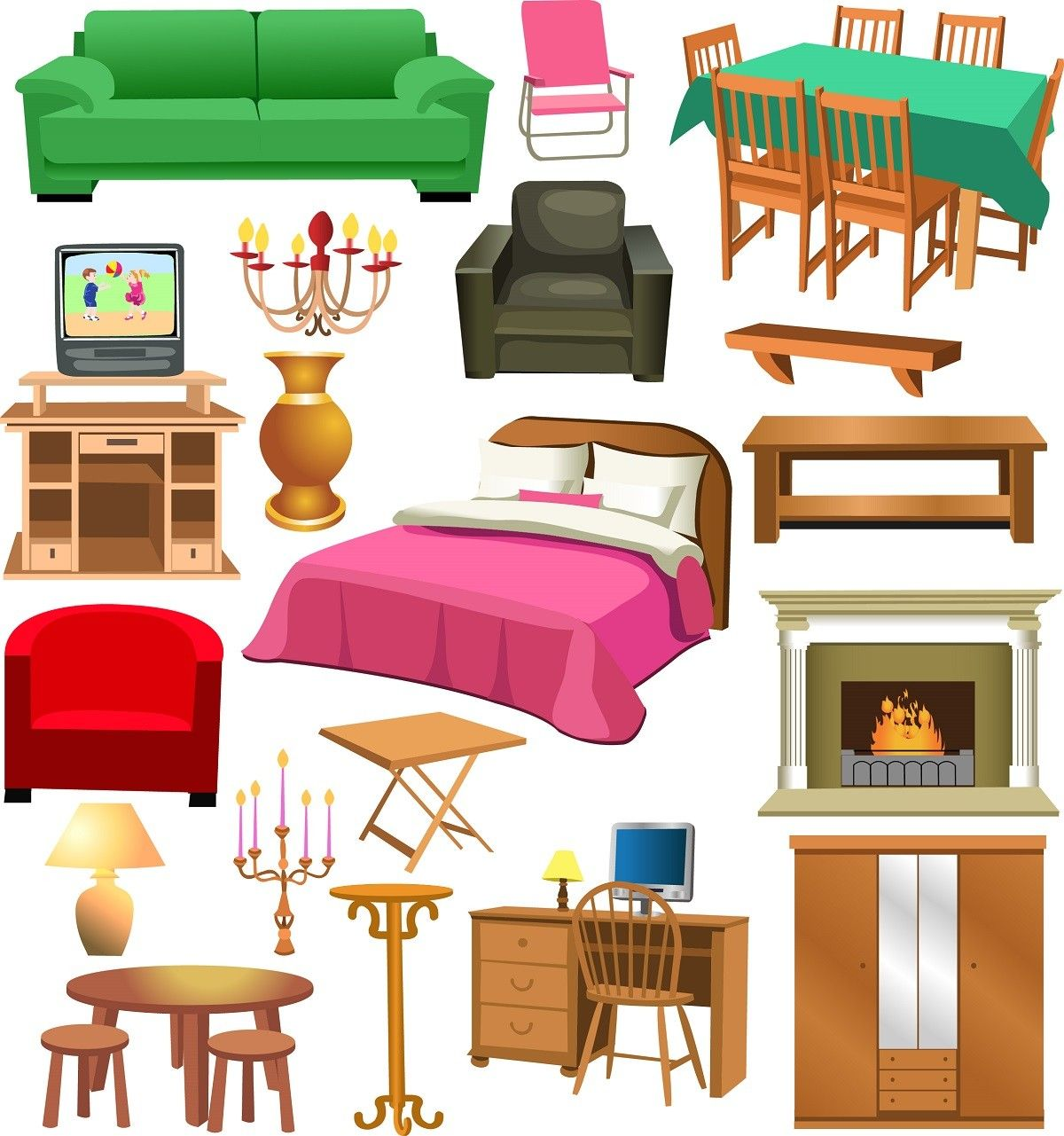 Furniture set 03 Bed chair clotheshanger cupboard