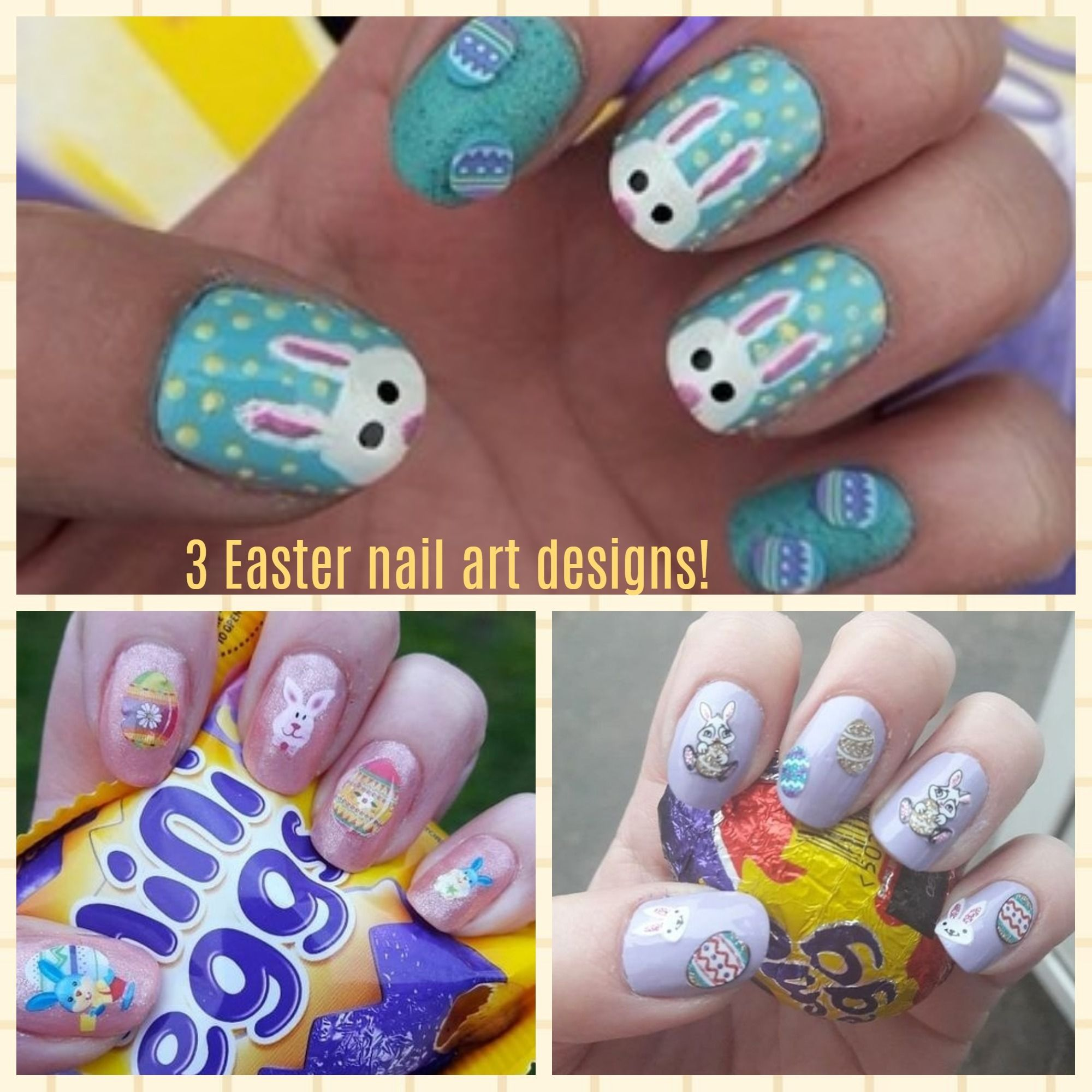 3 simple Easter nail art designs!-Bunnies & Easter Eggs! | Easter ...