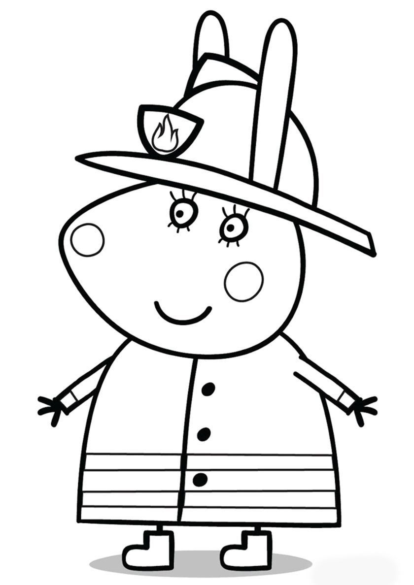 Peppa Pig Coloring Pages For Kids Mummy Rabbit In Fire Uniform Peppa Pig Coloring Pages Peppa Pig Colouring Peppa Pig Painting