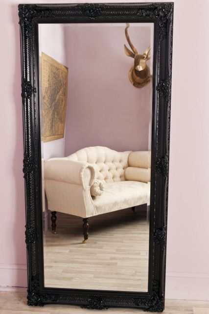 Large Antique Style Black Rectangular Leaner Floor Standing Full Length Mirror - Amelia Black