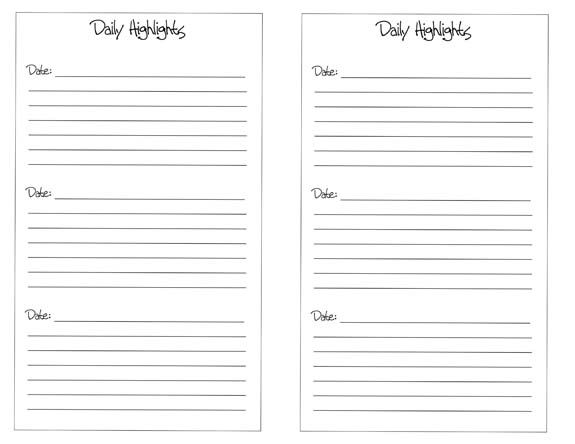 Free Half Page Daily Highlights Printable Great for quick - diary paper printable