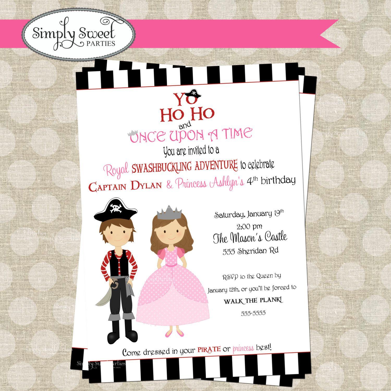 Princess and Pirate Birthday Party DIY printable PDF Invitation ...