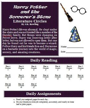Harry Potter And The Sorcerer S Stone Literature Circles Activity