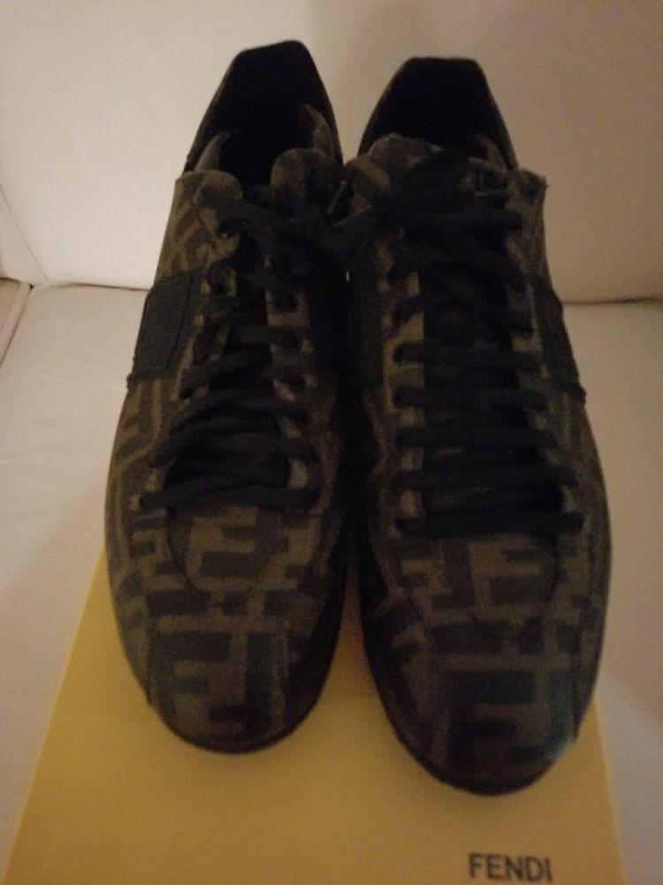 Fendi Men's Black Zucca Print Sneakers Fits Mens 10 5