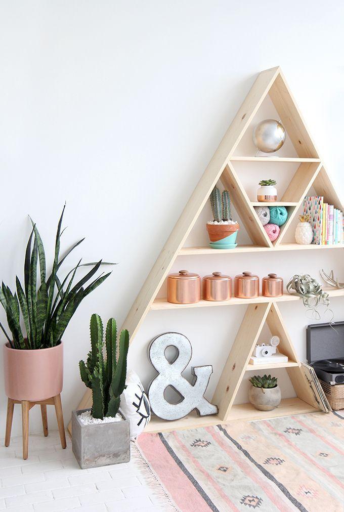 Triangle Bookshelf Cute DIY Alternative To A Traditional Shelf - Triangle bedroom design