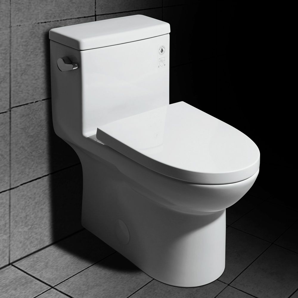 Modern One Piece Single Flush 1 28 Gpf Elongated Siphonic Toilet