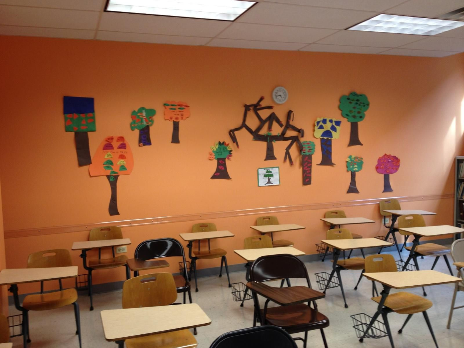 The classroom at Temple Beth-El, Northbrook, Ill., that now houses the JGSI genealogical library is decorated with children's family trees.