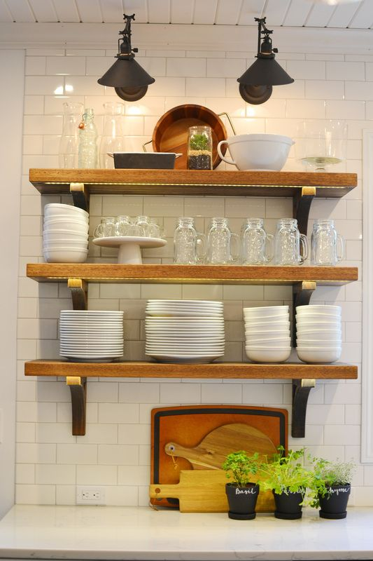 White Farmhouse Kitchen, Open Shelving, Subway Tile, Library Sconces And  Quartz Counters That