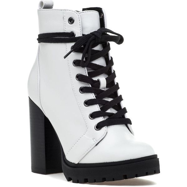 37a423059d38 STEVE MADDEN Laurie Boot White Leather ($129) ❤ liked on Polyvore featuring  shoes, boots, white leather, lace up combat boots, white boots, white  leather ...