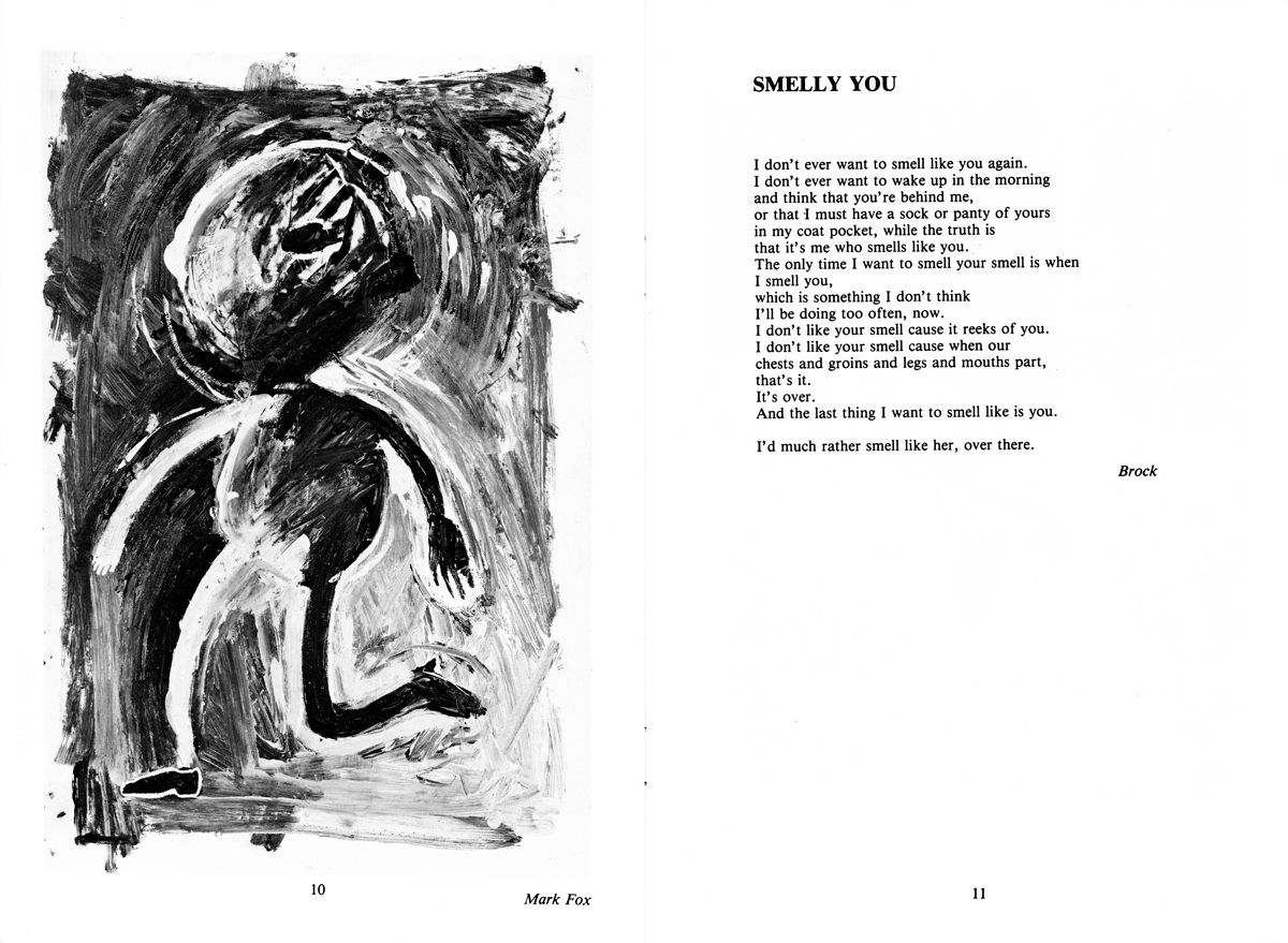 Cadenza - Spring 1985 - Pages 10 & 11 - Mixed media by Mark Fox - Smelly you, poem by Brock