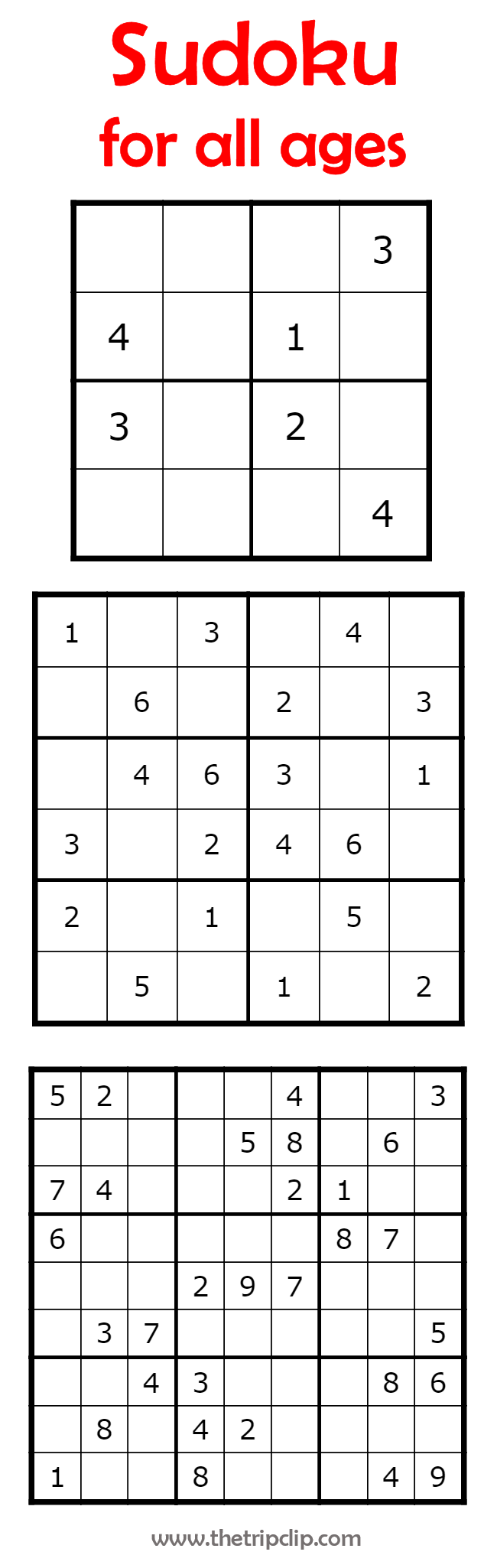 Sudoku for All Ages PLUS lots of other printable activities for kids ...