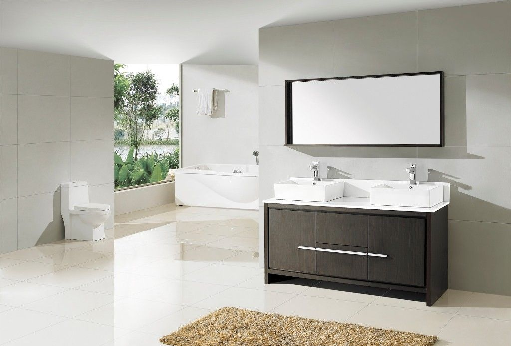 Aqua Decor Granada 60 Inch Double Sink Modern Bathroom Vanity Set