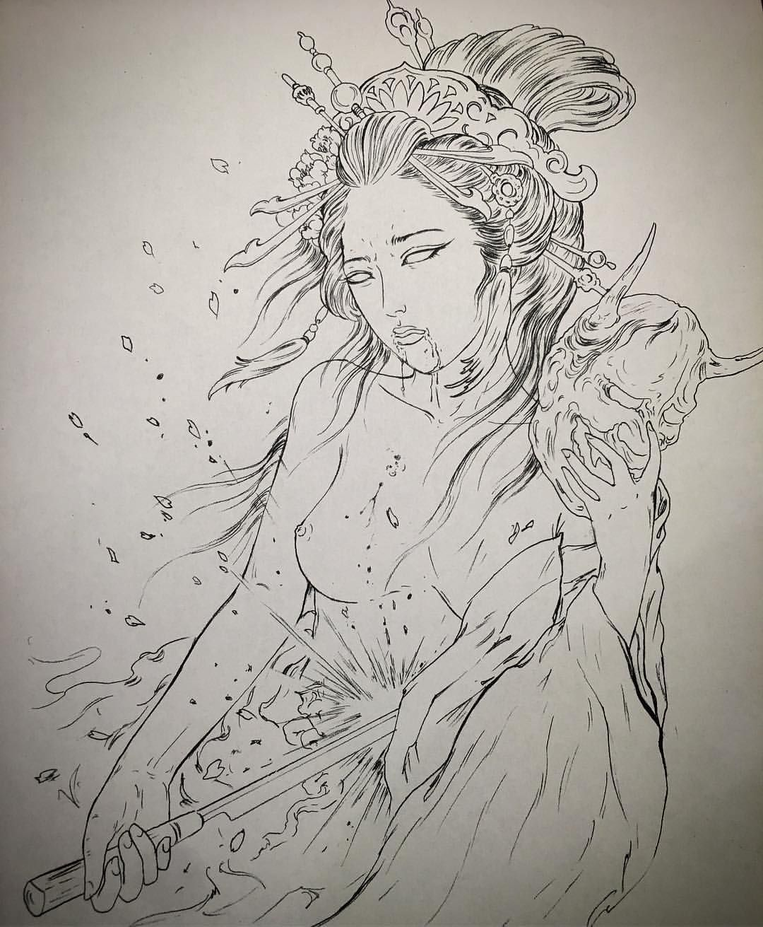 d5382f1c1 #rdt #reddemon #reddemontattoos #tattoo #tattoos #art #geisha #japan #girl  #harakiri #sepukul #blood #sakura #blossoms Can't wait to do this side  piece!!!