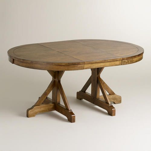 Round X Base Extension Table Oval Table Dining Round Dining Room Farmhouse Dining Table